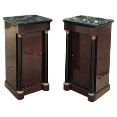 Pair 19th Century French 2nd Empire Mahogany Marble Top Nightstands