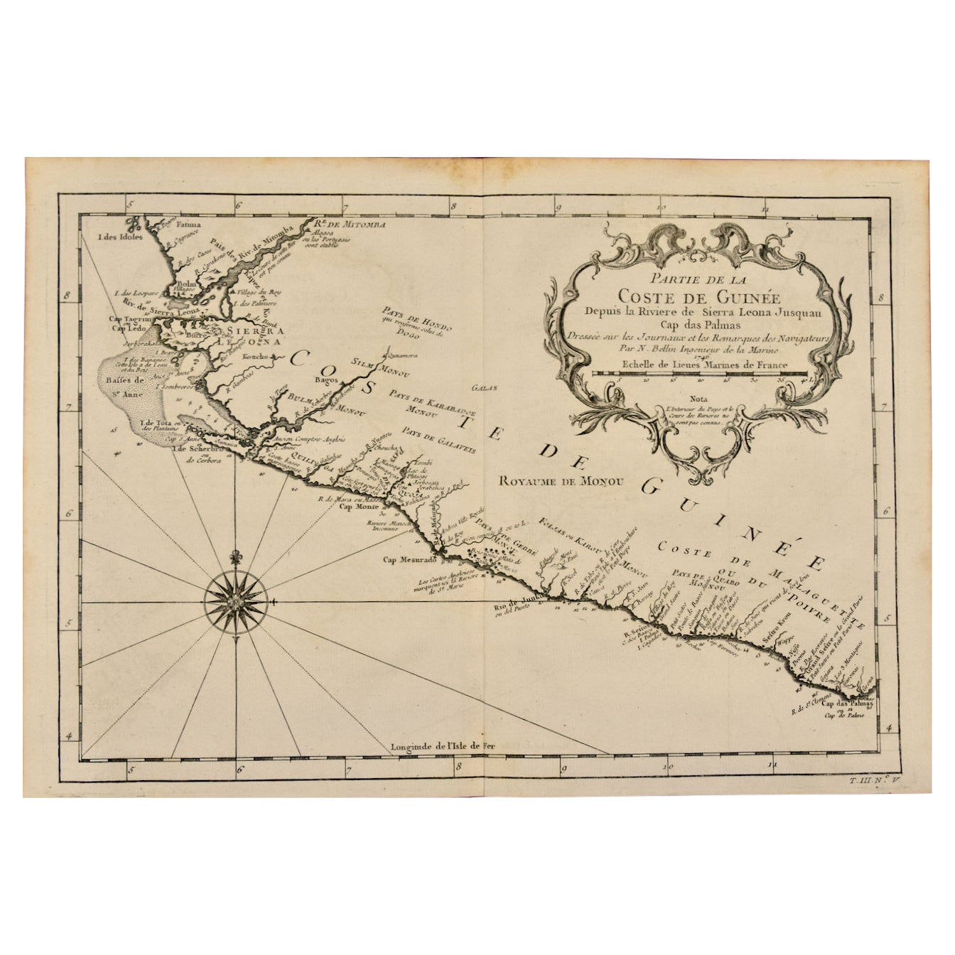 Bellin 18th Century Map of the West Coast of Africa, Guinea & Sierra Leone