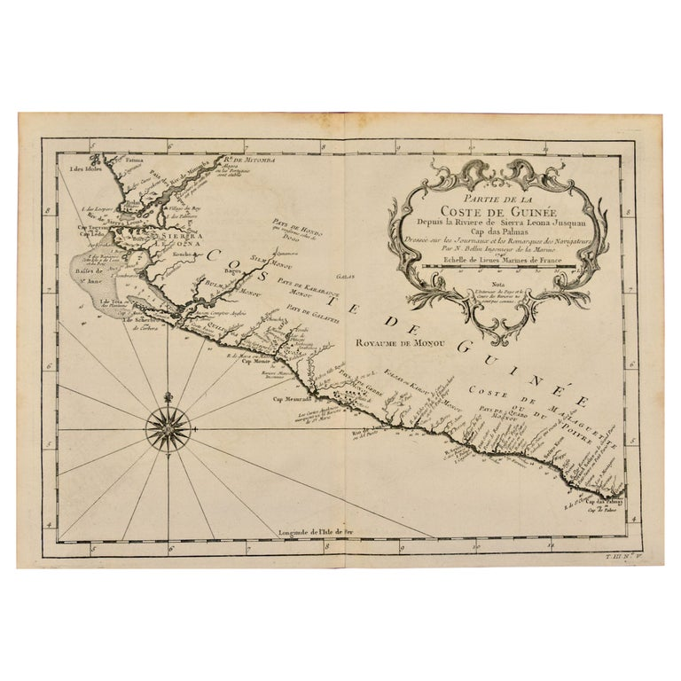 Bellin 18th Century Map of the West Coast of Africa, Guinea & Sierra Leone For Sale