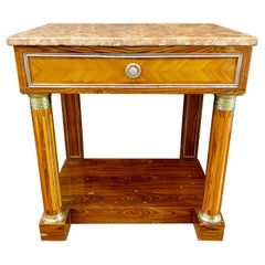 Empire Style Marble-Top Nightstand or Console