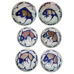 Set of Six Qing Dynasty Carp Plates