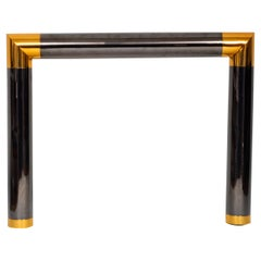 Gun Metal and Polished Brass Fire Place Mantel by Karl Springer