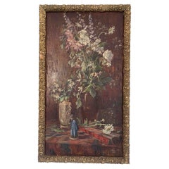 """Jacob Alexandre """"Bouquet of Flowers and Statuette"""" Panel"""