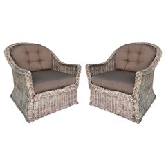 Vintage Bielecky Brothers Woven Rattan Lounge Chairs, Pair