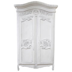 19th Century Carved and Painted French Armoire from Provence