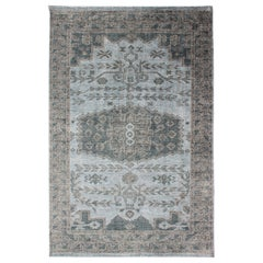 Oushak Design Distressed Rug in Gray, Taupe, & Cream with large Medallion Design