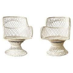 Russell Woodard Fiberglass Spun Swivel Rocking Chairs, Pair