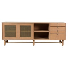 Natural Oak and Brass Niguel Credenza by Lawson-Fenning