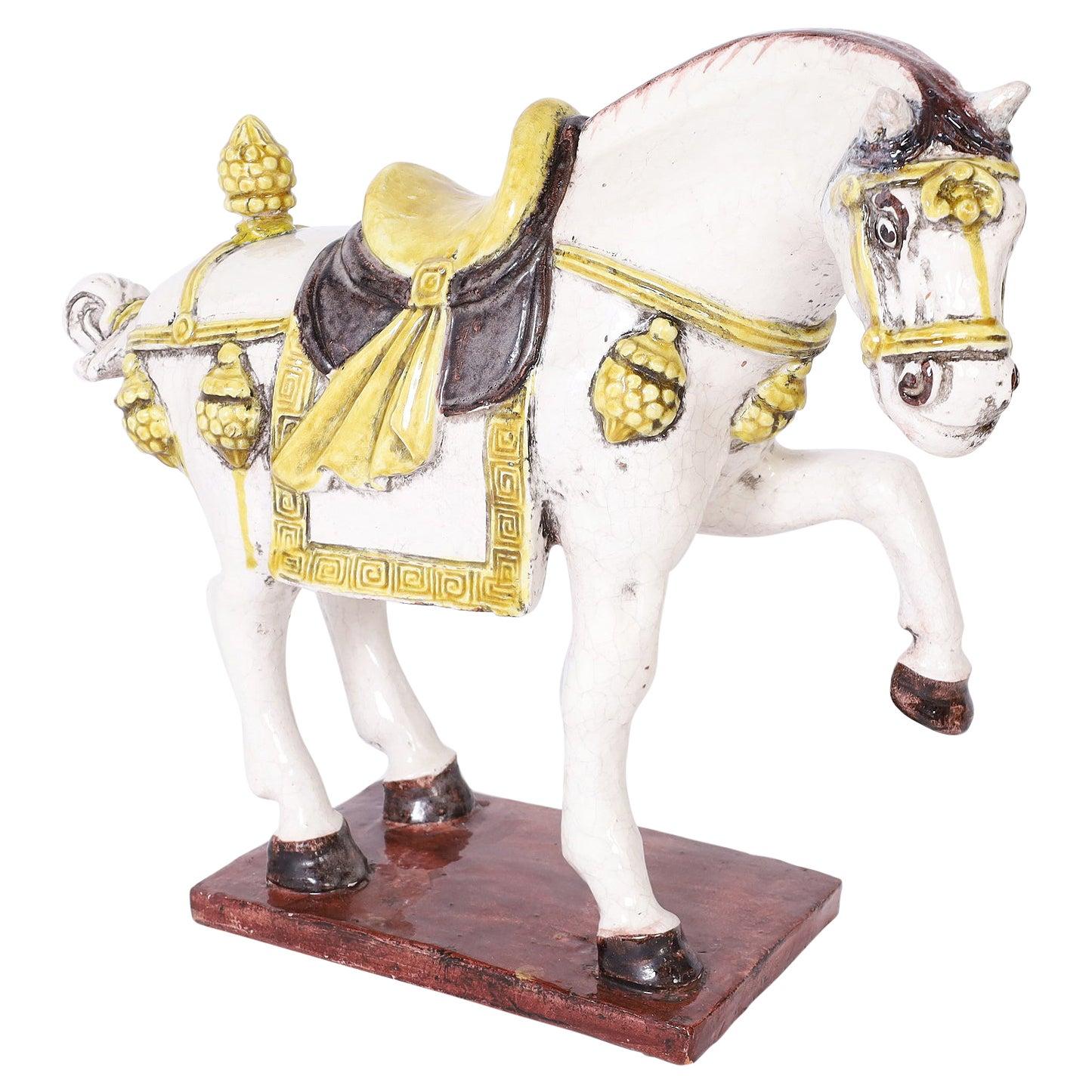Glazed Terra Cotta Prancing Horse