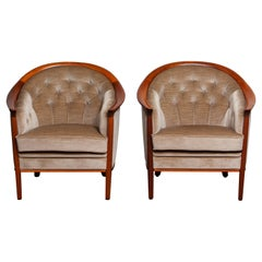 1960s Pair Mahogany And Taupe Velvet Lounge Chairs by Broderna Andersson Sweden