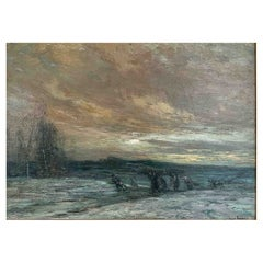 """Foreau Henri Louis """"Return from the fields on winter evening"""""""