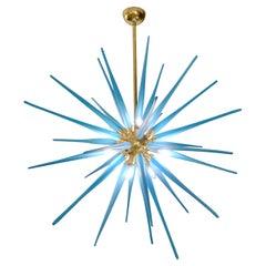 Contemporary Italian Aquamarine Blue Murano Glass Paste Modern Brass Sputnik