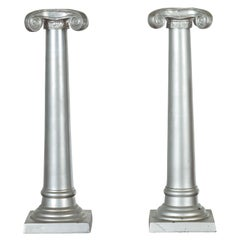 Pair of Silver over Bronze Column Candlesticks with Large Ionic Capitals