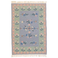 Vintage Floral Kilim Rug with French Victorian Style