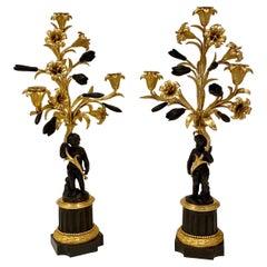 Fine Pair of French Gilt & Patinated Bronze Ormolu 3 Light Candelabra