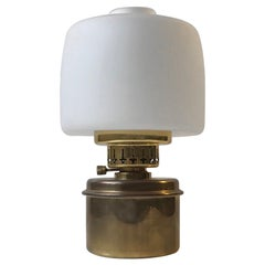 Hans-Agne Jakobsson Table Oil Lamp in Brass and Opaline Glass, 1960s
