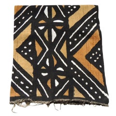 African Mud Cloth Geometric Yellow and Black Textile Panel