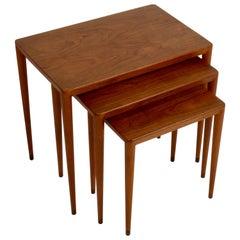 Vintage Danish Modern Set of 3 Teak Nesting Tables Retailed by Illums Bolighus