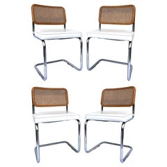 Original 1970s Marcel Breuer Caned Cesca Dining Chairs, Set of 4