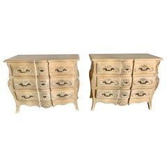 Pair of French Bleached Chest of Drawers, Mid 20th Century