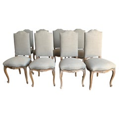Set of Eight French Linen Dining Chairs