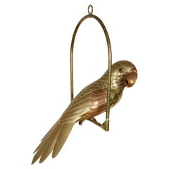 Brass and Copper Parrot Sculpture by Sergio Bustamante
