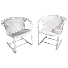 Pr Cantilevered Garden Patio Poolside Chairs by Salterini