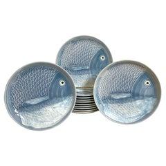 12 Blue & White Faience Fish Motif Plates