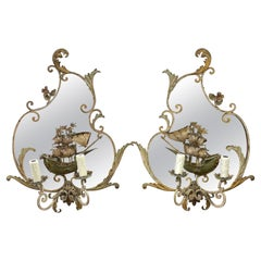 Pair of Venetian Tole & Mirrored Ship Motif Sconces