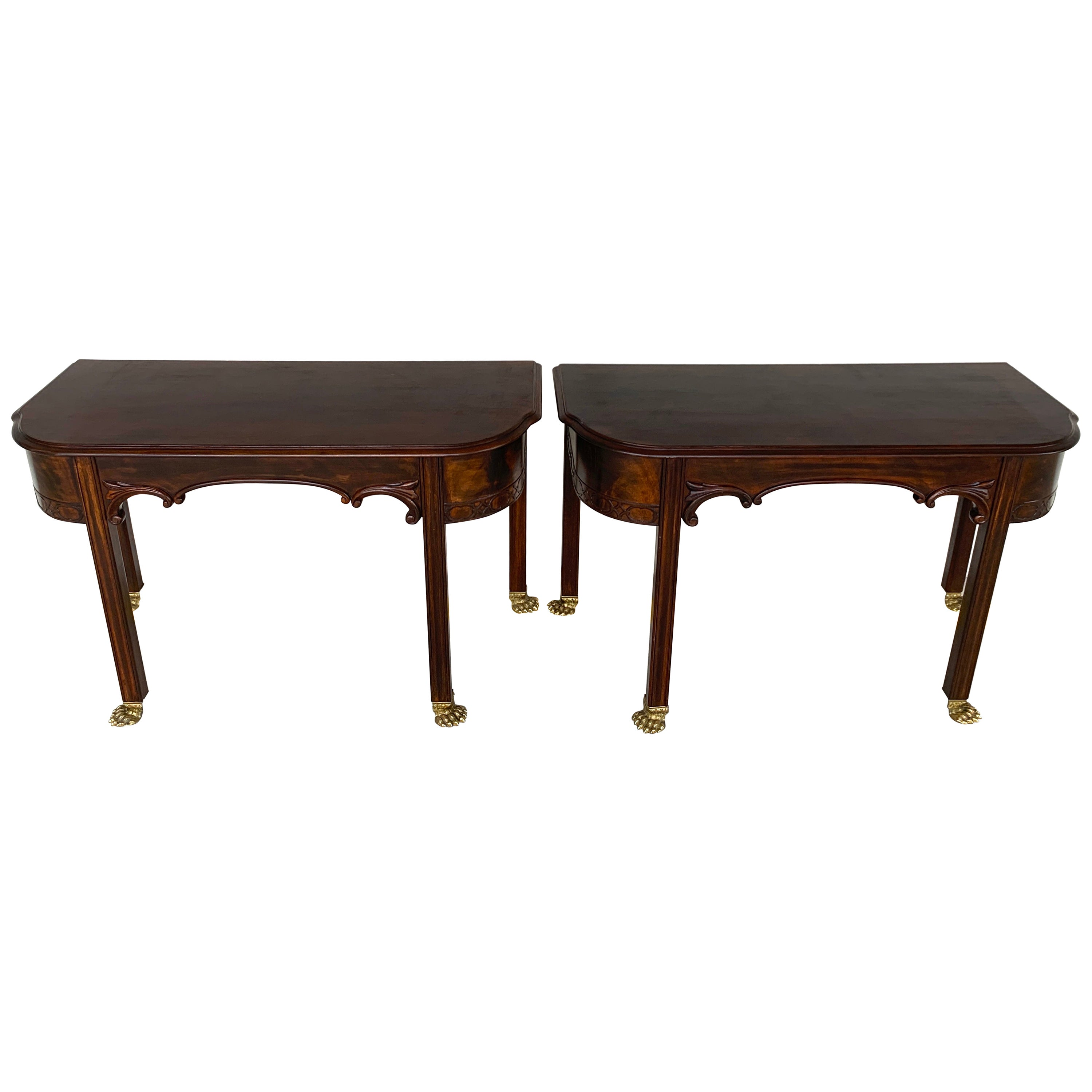 Pair of English Regency Brass Footed Console Tables