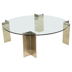 Leon Rosen For Pace Modernist Steel and Glass Coffee Table