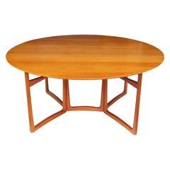 Danish Modern Drop-Leaf Oval Teak Dining Table by Peter Hvidt for France & Son