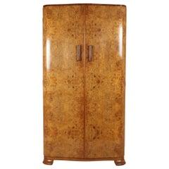 English Art Deco Burr Walnut Gentleman's Wardrobe