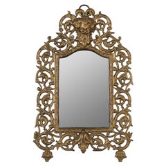 Antique Bradley & Hubbard Gilded Cast Iron Wall Vanity Mirror Bacchus