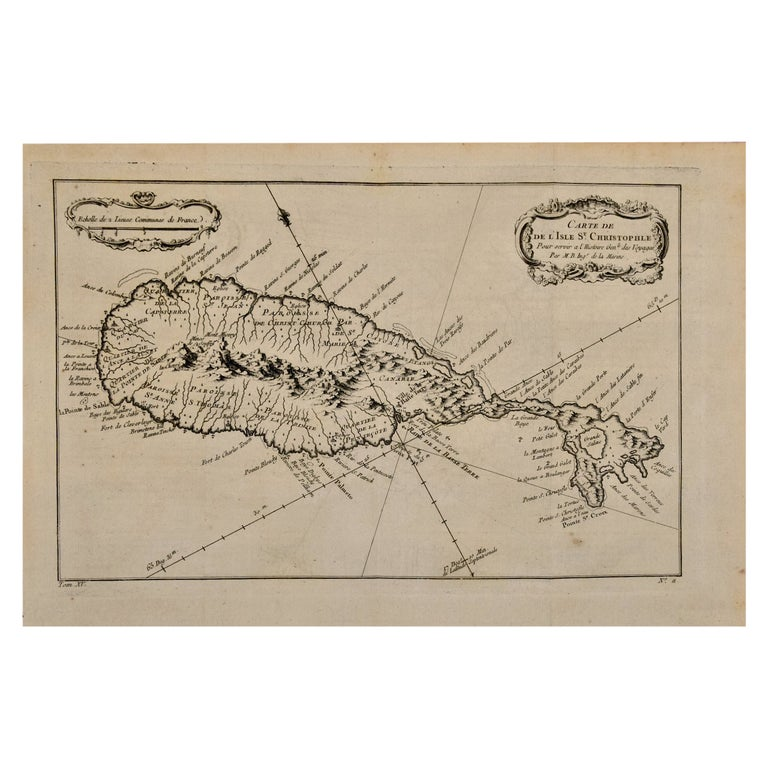 Bellin 18th Century Hand Colored Map of St. Christophe 'St. Kitts' For Sale