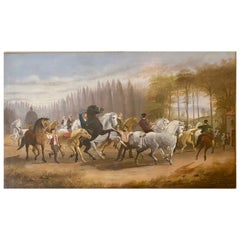 """Large 19th Century Oil Painting After Rosa Bonheur Entitled """"The Horse Fair"""""""