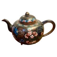 Unusual Antique Miniature Japanese Cloisonne Teapot