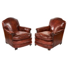 Quality Antique Pair of Leather Club Chairs
