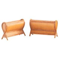 Rattan Handmade Woven Cane Kalma Coffee Bow Table Modern Footrest Furniture
