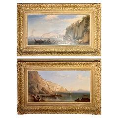 Pair Oil Paintings by James Bridges Bay of Naples C.1838