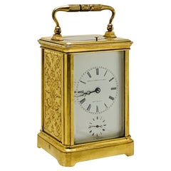 Fine Quality French Engraved Striking & Repeating Carriage Clock, C.1860