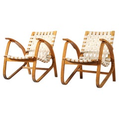 Jan Vanek Sculptural Lounge Chairs in Wood and Canvas