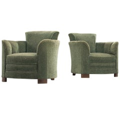 Art Deco Lounge Chairs in Green Velours