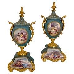 Fine Quality Pair of Sevres Bleu Celeste Gilt Bronze Porcelain Antique Vases
