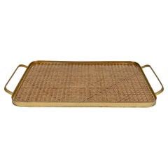 Barware Serving Tray Brass, Lucite & Rattan Christian Dior Style, Italy, 1970s