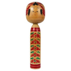 Decorative Togatta Kokeshi Doll Sculpture from Northern Japan, Hand-Painted