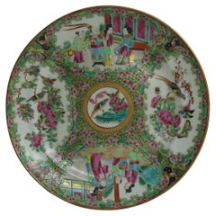 Early 19th C Chinese Export Porcelain Dinner Plate Rose Medallion, Qing Ca 1820