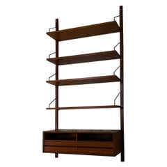 Italian Single Teak Wall Bookcase with Shelves, Desk and Compartment, ISA, 1960s
