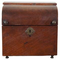 American Mahogany Antique Federal Miniature Domed Footed Trinket Keepsake Box