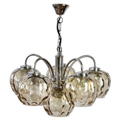 """1970s Vintage Six Arm Chrome Chandelier with Smoked Toned """"Bubble"""" Glass Shades"""